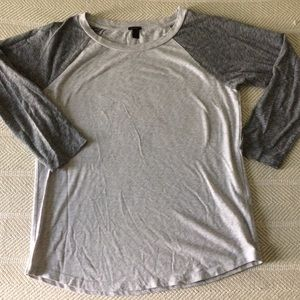 J. Crew Grey Marled Baseball 3/4 Sleeve T-shirt